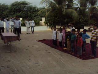 Students Taking Salute
